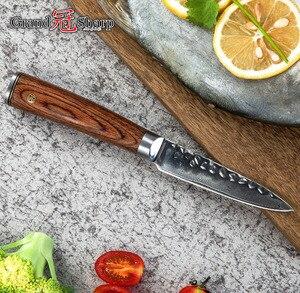 Image 4 - Кухонный нож GRANDSHARP из дамасской стали, 3,5 дюйма, нож для чистки овощей и фруктов vg10, японский шеф повар из дамасской нержавеющей стали, приспособление