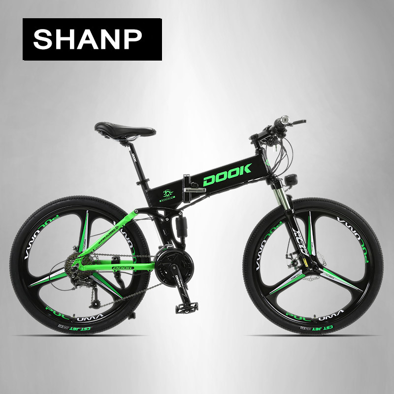 DOOK Mountain Electric Bike Full Suspension Alluminium Folding Frame 27 Speed Shimano Altus Mechanic Brake 26 Wheel