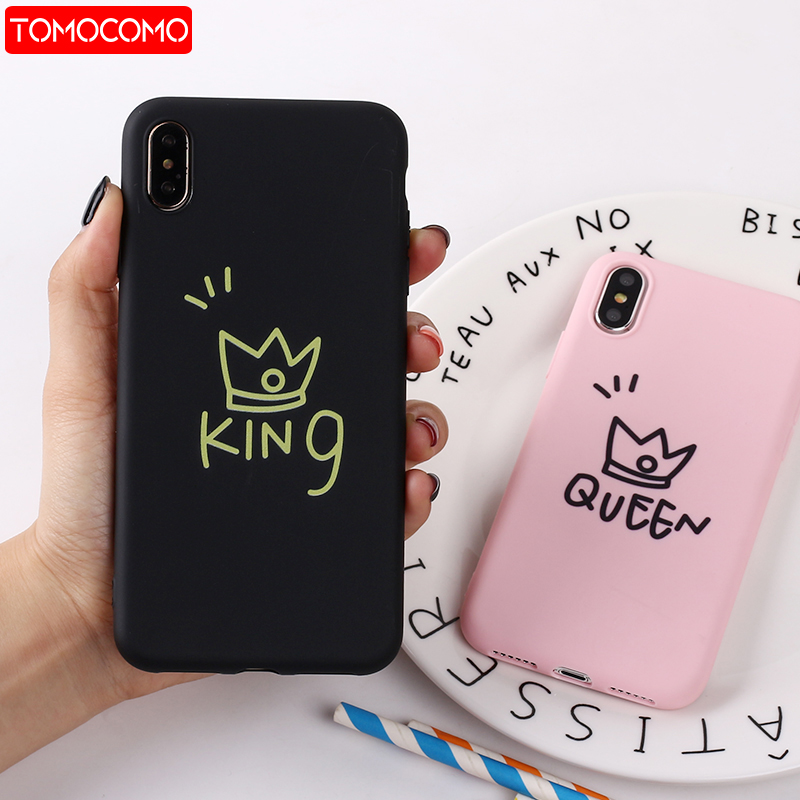Glossy Crown Cute Letter KING QUEEN Silicone Matte Soft Phone Case Fundas For iPhone 11 Pro 7Plus 7 6Plus 6 6S 8 8Plus X XS Max(China)