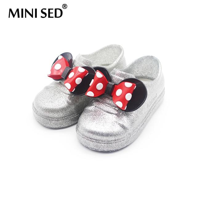 dd67160c1 Minised 2018 Микки и Минни Маус лук желе Сандалии для девочек для Обувь для  девочек детей
