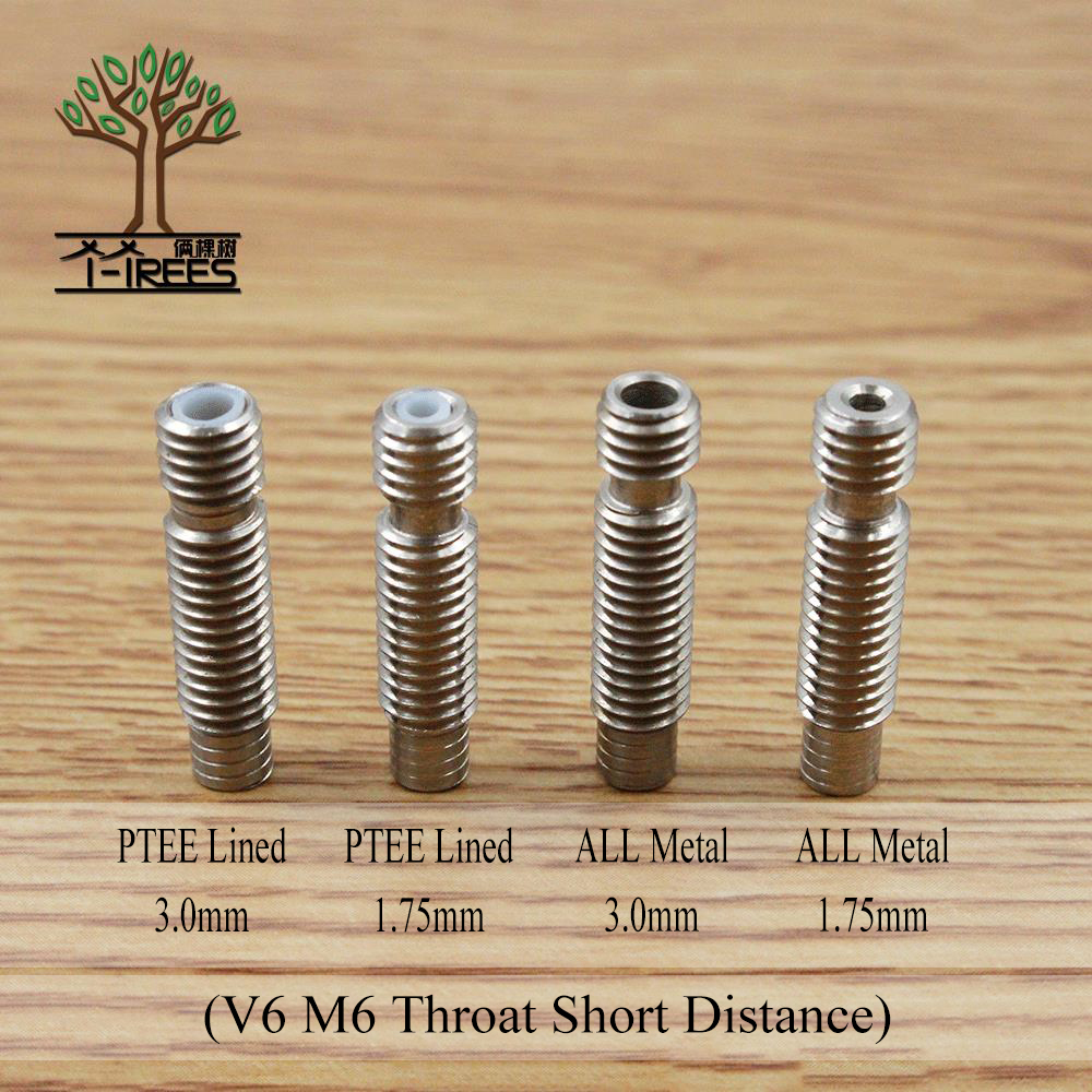 5pcs Stainless Steel Throat V6 M6 Thread Short Distance 1.75mm 3mm Filament Extruder 3D Printers Parts Teflon Tube Full Metal 5pcs 304 stainless steel capillary tube 3mm od 2mm id 250mm length silver for hardware accessories