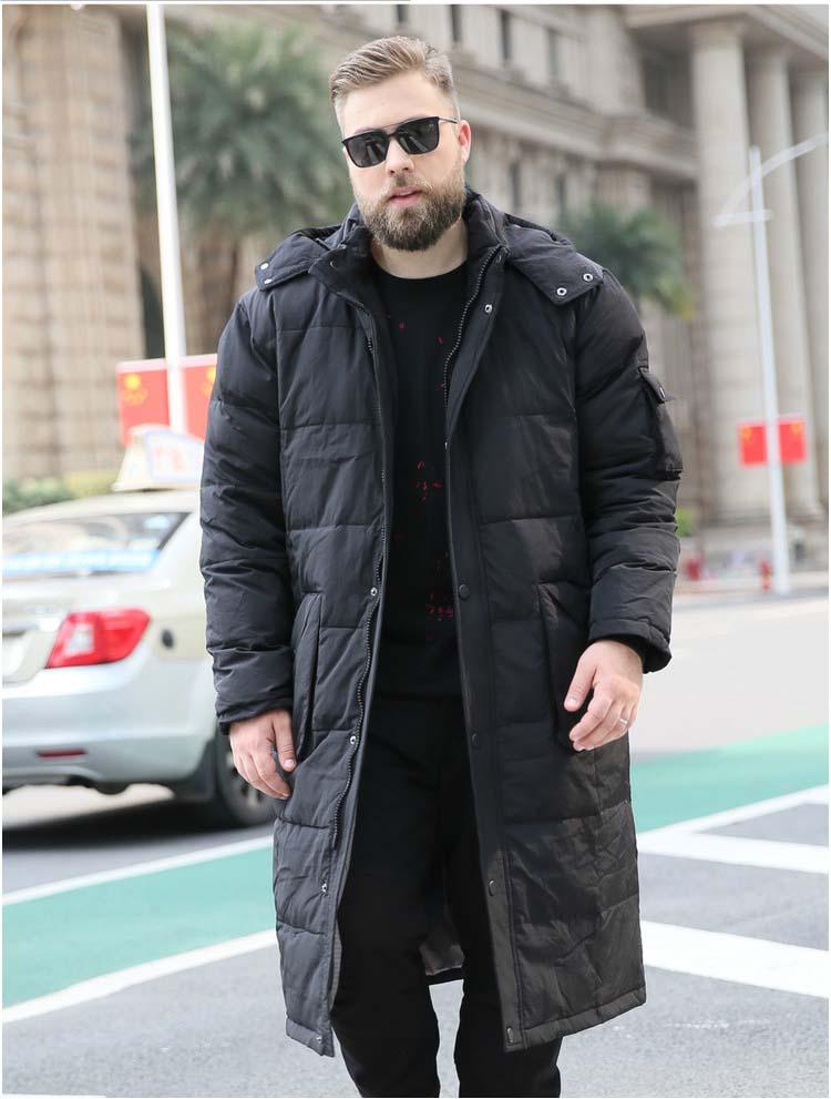 Manteau homme en duvet de canard mode hiver parkas chauds ultra long maxi veste à capuche grande taille 5xl 6xl 7xl 8xl 9xl 10xl