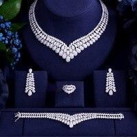 Accking Luxury white gold color Elegant Shape Bridal cube zircon necklace earring bracelet ring 4pcs Big Wedding Jewelry Sets