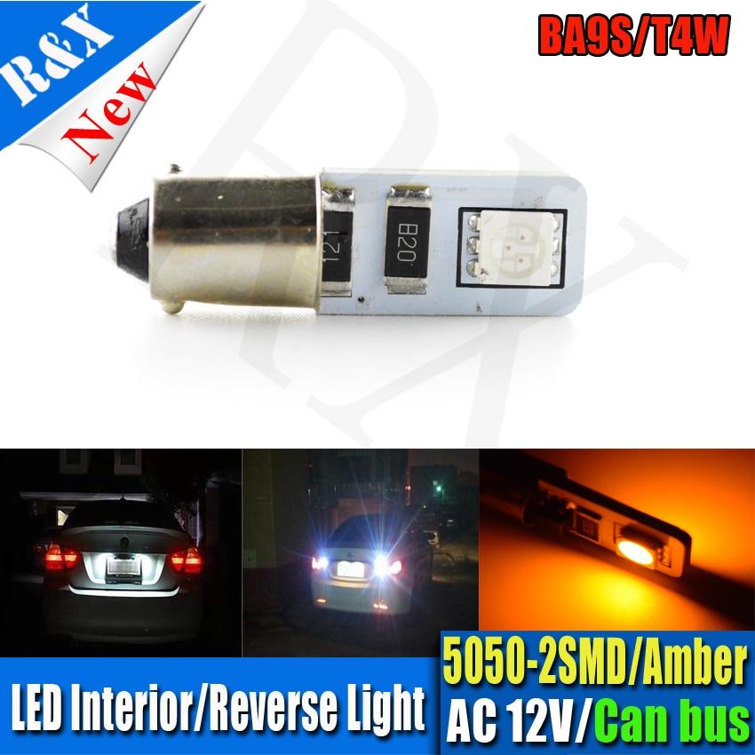 1pcs/lot Amber Car Auto Indicator side LED BA9S canbus T4W W5W Canbus 2led 5050smd ba9s LED Light Bulb No error car led light цена 2016