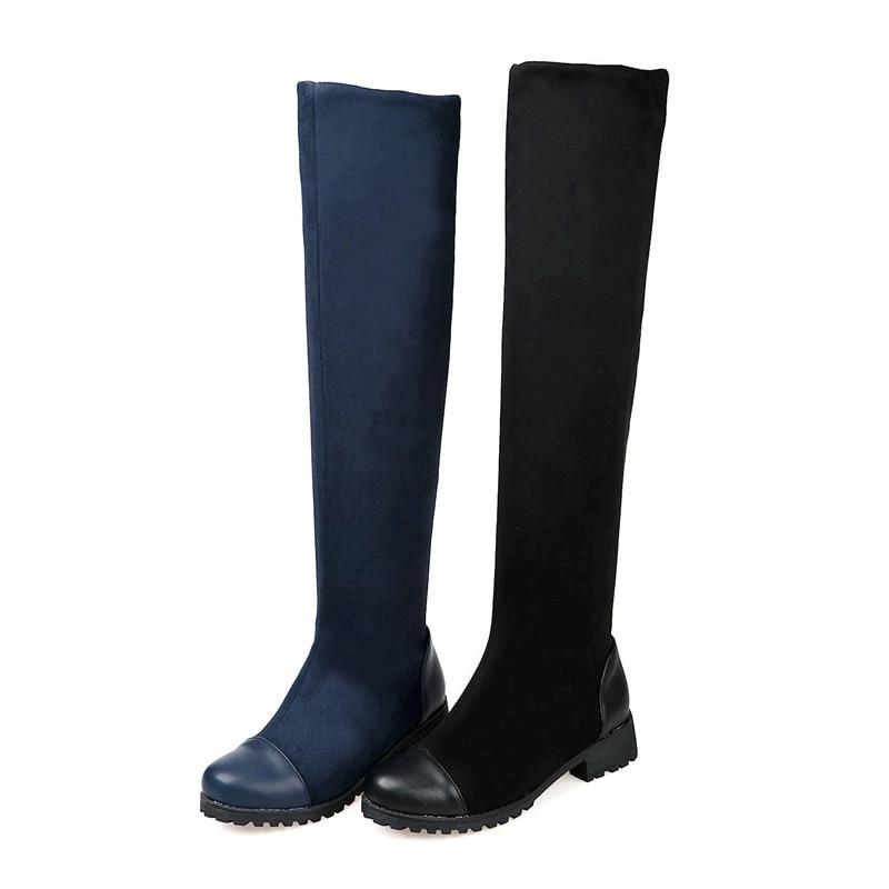 Cm Noir dark Femmes Bleu Solide Arrivée Blue Bout 3 Foncé D'hiver Noir Longues Genou 5 2018 Épais Chaussures Nouvelle Talons Memunia Haute Rond Bottes B4wSO1nq
