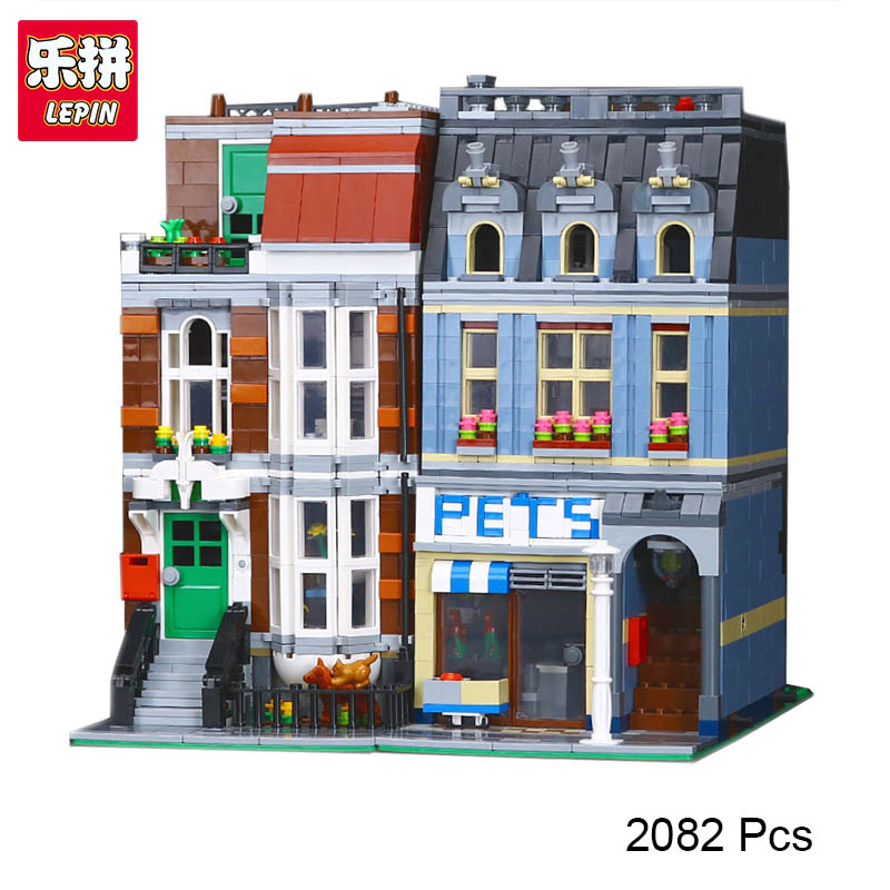 LEPIN 15009 City Street Pet Shop Model Building Kid Blocks bricks Assembling toys compatible 10218 Educational Toy Funny Gift lepin 1767 city town city square building blocks sets brick kid model kids toys for children marvel compatible bela diy gift toy