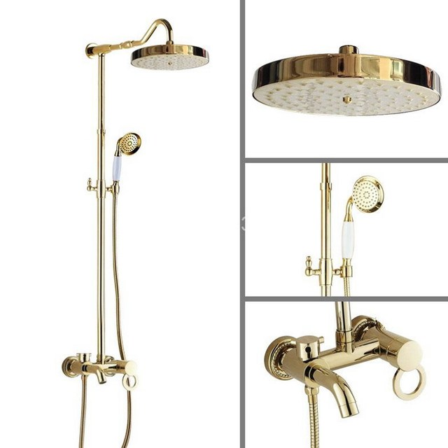 Captivating Gold Color Polished Brass 7.7 Inch Round Bathroom Rain Shower Faucet Set  Telephone Style Handheld Shower