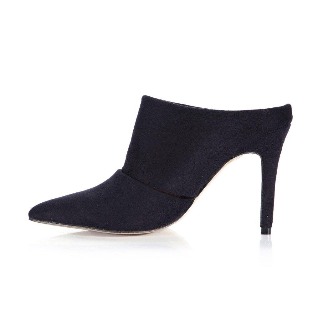 Casual Mujer Zapatillas Toboganes Calientes Clásico Del Señoras De Dedo Cerrado Pu Flock Mujeres Verano Alto Zapatos Sandalias Sexy Pie Las Negro Tacón Señaló SHx86pqw8