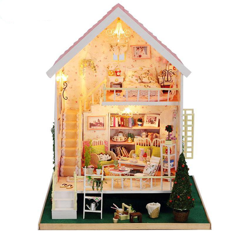 Home Decoration Crafts DIY Doll House large Wooden Dolls House 3D Miniature Model Kit  dollhouse Furniture Room LED Light 13012 home decoration crafts diy doll house wooden doll houses miniature diy dollhouse furniture kit room led lights gift a 012
