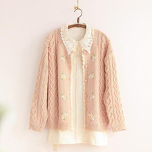 GMANCL sweet 3D handmade flowers embroidery cardigan mori girl sweater