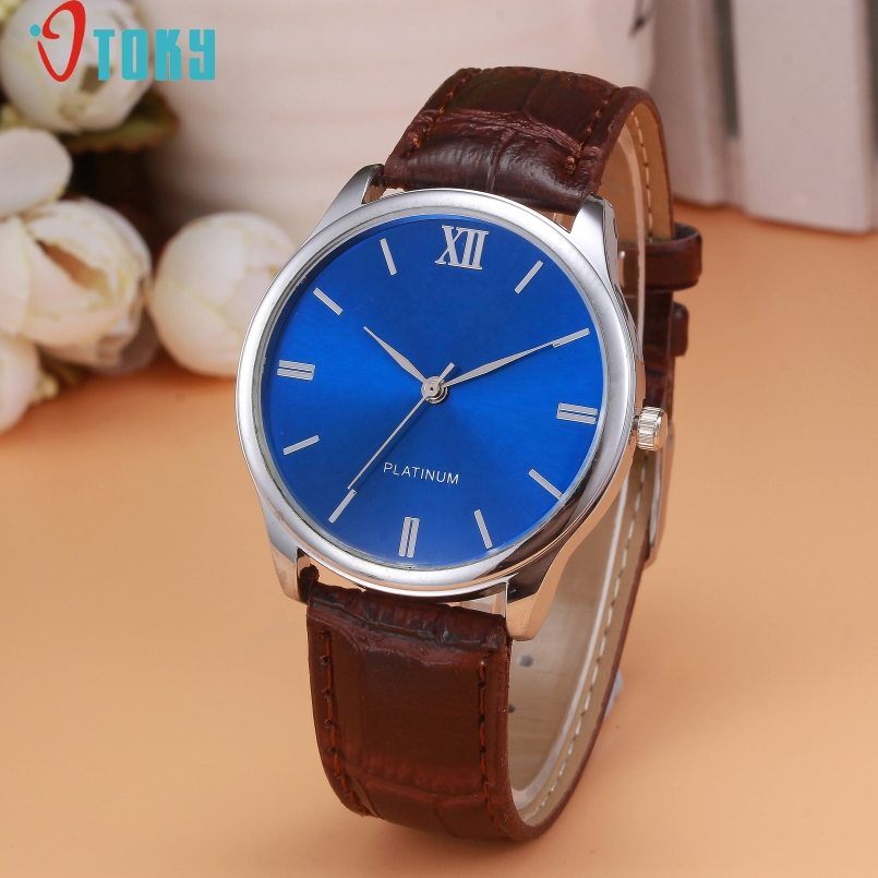 Excellent Quality OTOKY New Men Roman Numerals Blu-Ray Faux Leather Band Quartz Analog Business Watch Relogio Masculino