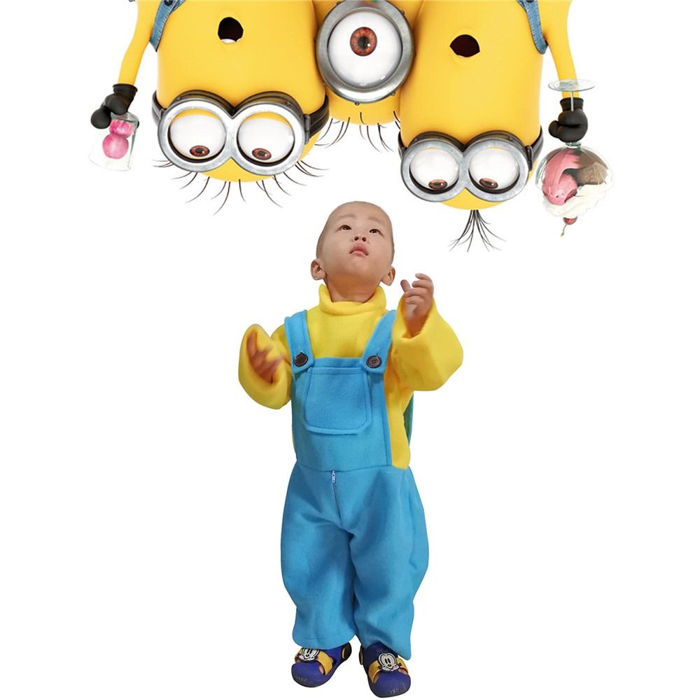 Cute Minions Baby Costume Little Kids Toddler Kevin Bob Minion Copslay Outfit Cartoon Jumpsuit with Hat Halloween Fancy Dress