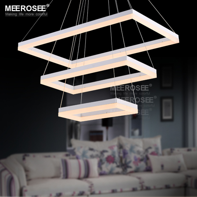 Modern Led Chandeliers Light Fixture White Rectangle Acrylic Lamp For Dining Living Room Hanging Chandelier