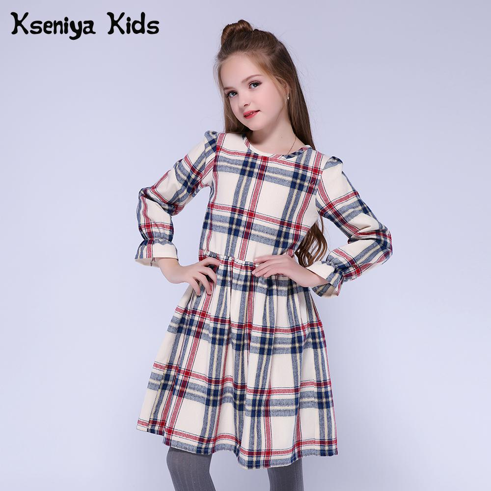 Girls Dresses Long-Sleeve Kseniya Kids Winter Plaid-Pattern Cotton Children Thick England-Style