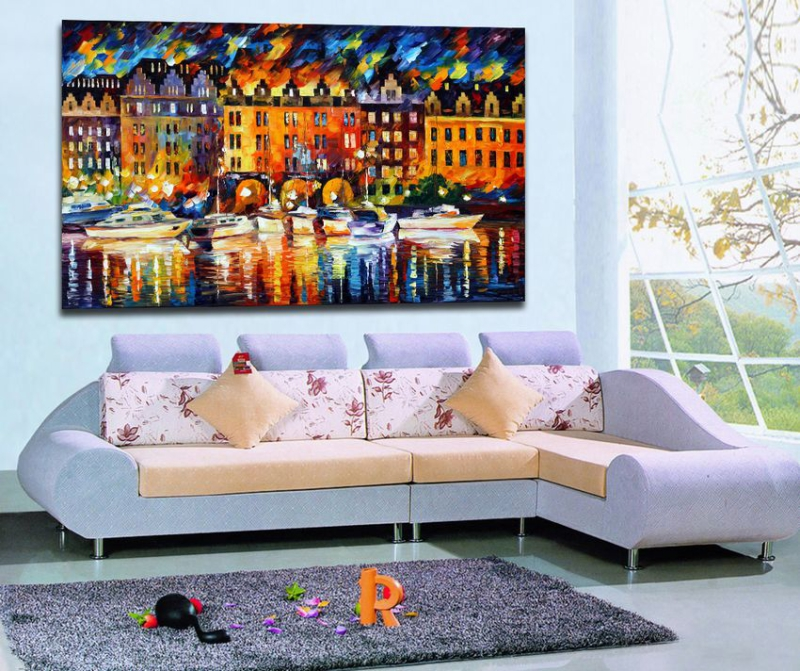 100 Hand painted Charming Palette font b Knife b font Picture Castle By The River Landscape