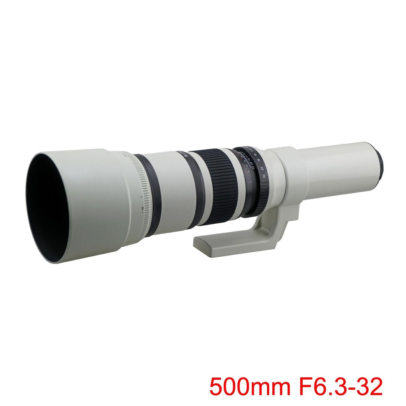500mm F6.3-32 T Mount TELEPHOTO tele LENS white for Canon nikon sony pentax fuji olympus m43 nex mirrorless dslr camera