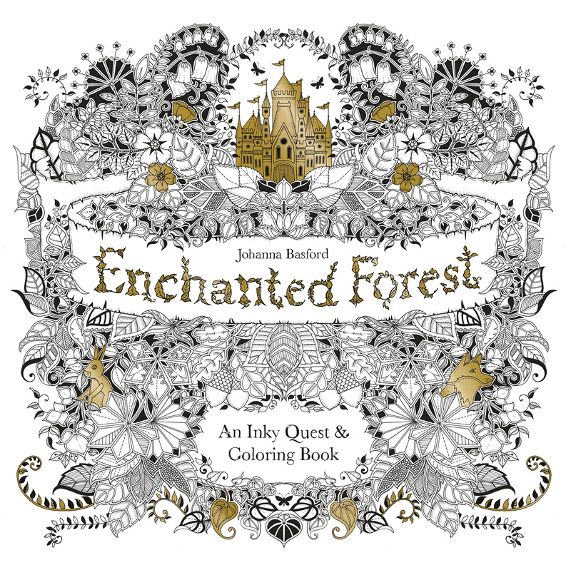 2015 Enchanted Forest An Inky Quest & Coloring Book For Children Adult Relieve Stress Kill Time Graffiti Painting Drawing Books купить
