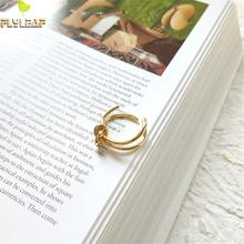 Flyleaf 925 Sterling Silver Rings For Women Line Knotting High Quality Femme Fashion Fine Jewelry Simple Open Ring Gold Party