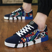 BJYL 2019 Men Fashion Shoes Man Sneaker Size 39-44 Boy Casual Print Canvas Breathable Lace Up Style Footwear B201