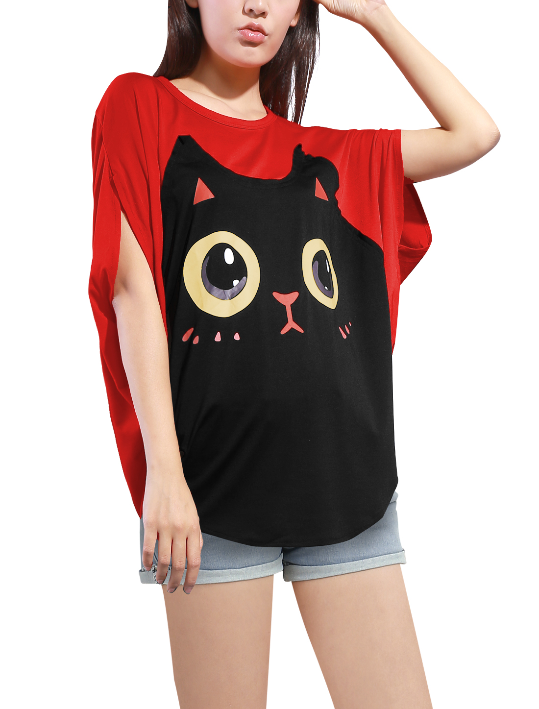 e65715389 Allegra K Women Round Neck Batwing Sleeve Cartoon Pattern Pullover Tunic  Shirt-in T-Shirts from Women's Clothing on Aliexpress.com | Alibaba Group