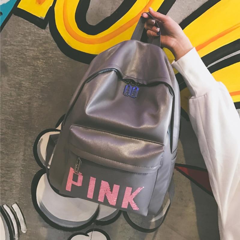 купить 2017 Cool Ulzzang Backpack Women Harajuku Bag PU Leather Schoolbag Backpack For School Girl Boy Designed Travel Bags Pink Print недорого