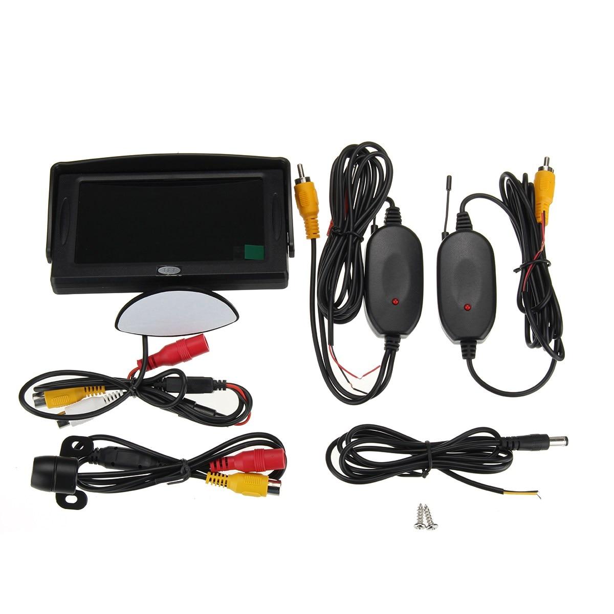 Wireless 120 Degree Car Rear View Backup Reverse Camera 4.3TFT LCD Screen Monitor
