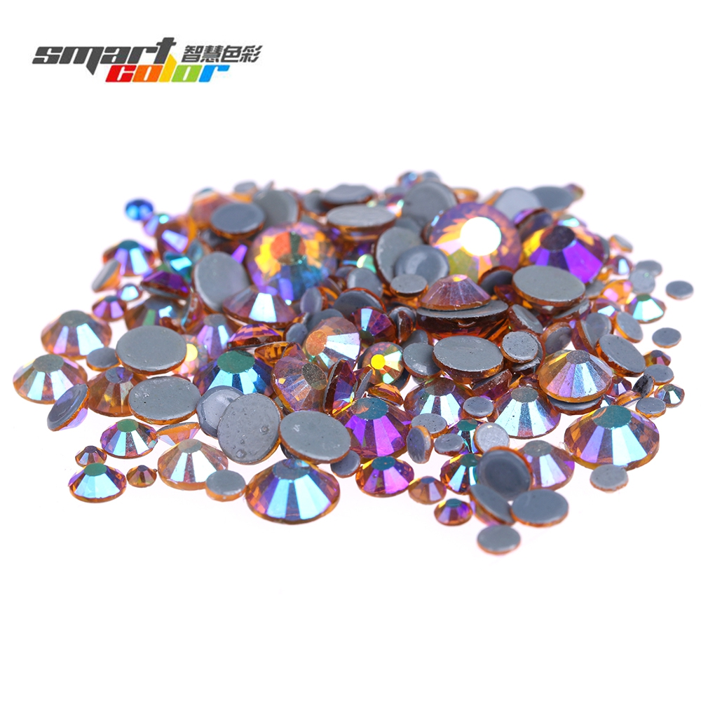 Topaz AB Glass Diamonds Iron On Strass Stones For Garment Flatback Round Hotfix Rhinestones Glue Backing DIY Crafts