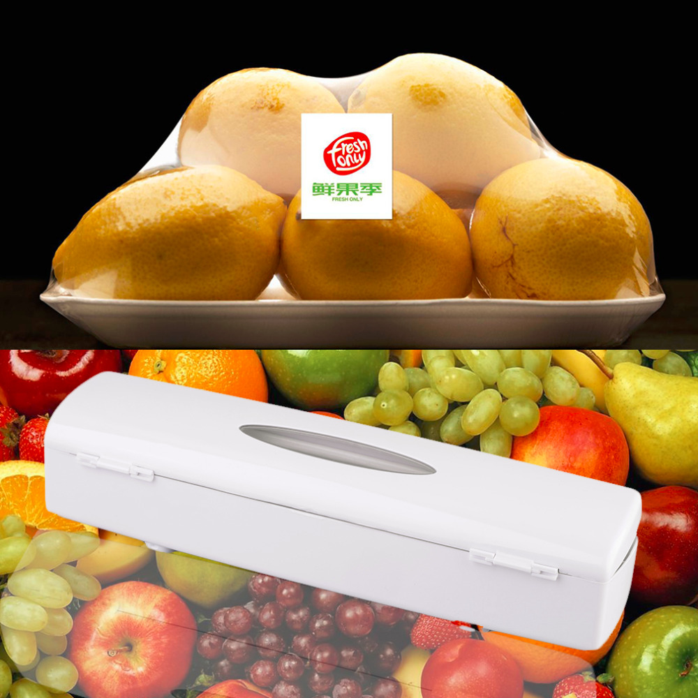 1 Pc   Kitchen Plastic Food Cling Wrap Foil Dispenser Cutter Preservative Film Tool
