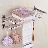 Wholesale Bathroom Towel Racks Foldable 304 Stainless Steel chrome Towel Holder Wall Mounted 40 60cm Towel Shelf With Hooks