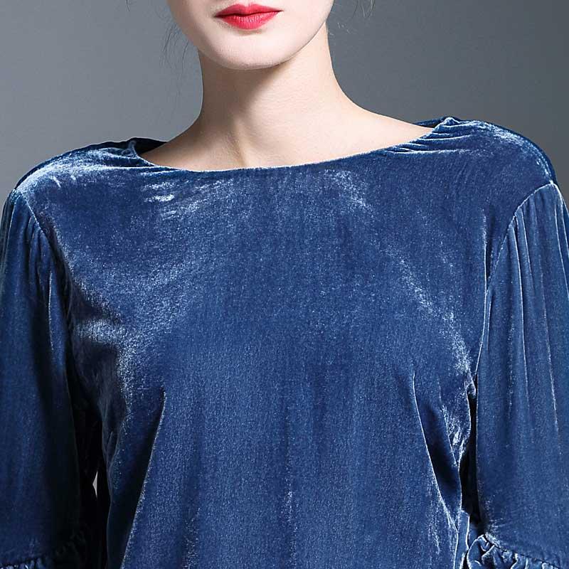 Q736 Europe À O américain Rayé 2019 Femmes Velours Printemps Chemise Blouse Mode Manches Longues Côtelé Lanterne De En Cou Uq4pxrwUF