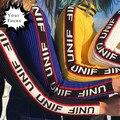 2017 cuello alto de la raya logo unif unif harajuku punk rock letras jacquard tire femme manga larga tejer suéter de las mujeres