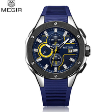 MEGIR New Brand Quartz Watches Men Toppkvalitets Chronograph Funktioner Se Vattentät Silikon Casual Clock