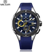 MEGIR العلامة التجارية الجديدة الكوارتز ساعات للرجال أعلى جودة وظائف الكرونوغراف مشاهدة للماء على مدار الساعة سيليكون