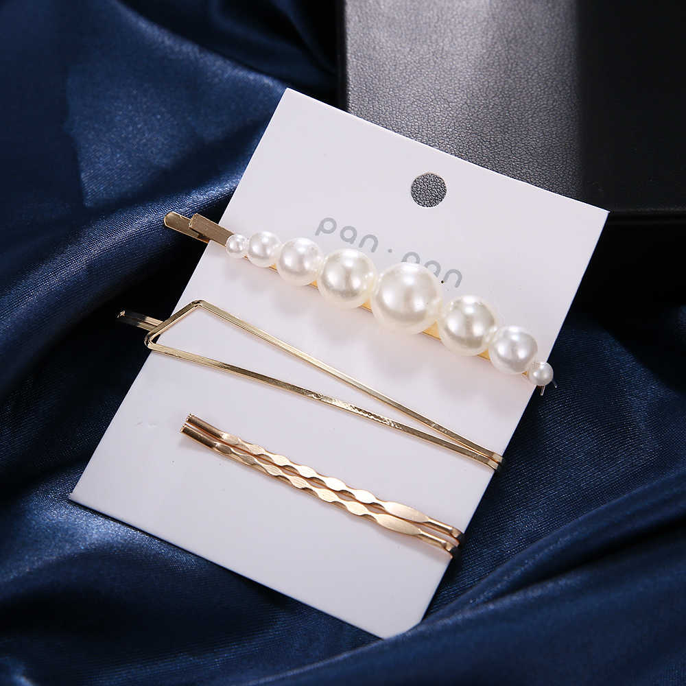 3Pcs/Set Women Barrette Metal Gold Pearl Hair Clip For Women 2019 Fashion Korean Hair pins Hairband Hair Accessories Jewelry