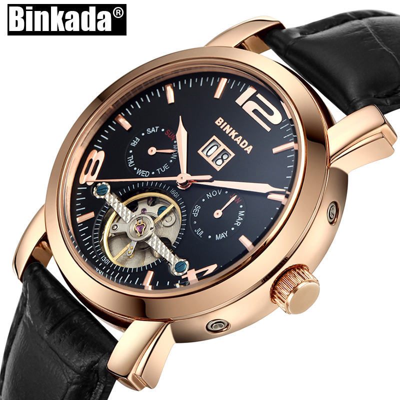 Montre Homme New BINKADA Tourbillon Watches Mechanical Watches Men Steel Strip Waterproof Luminous Automatic Male Watch advertising inflatables stars for stage
