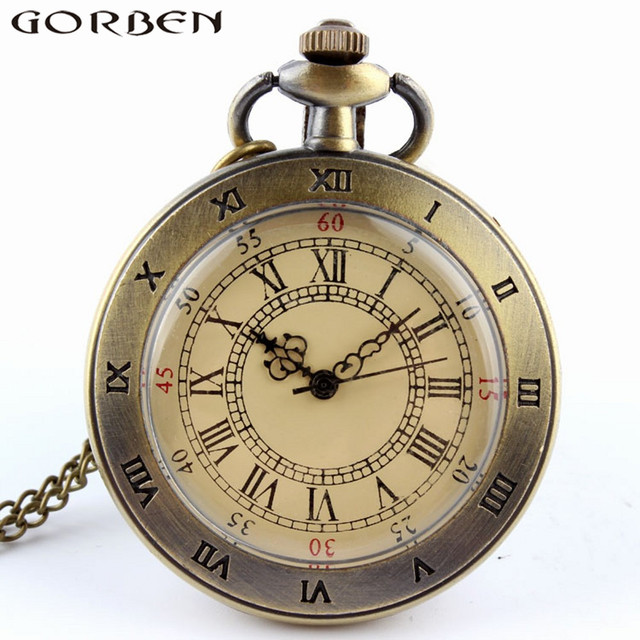 Hot Sale Unique Bronze Rorman Number Scale DIal Quartz Watch with FOB Chain Neck