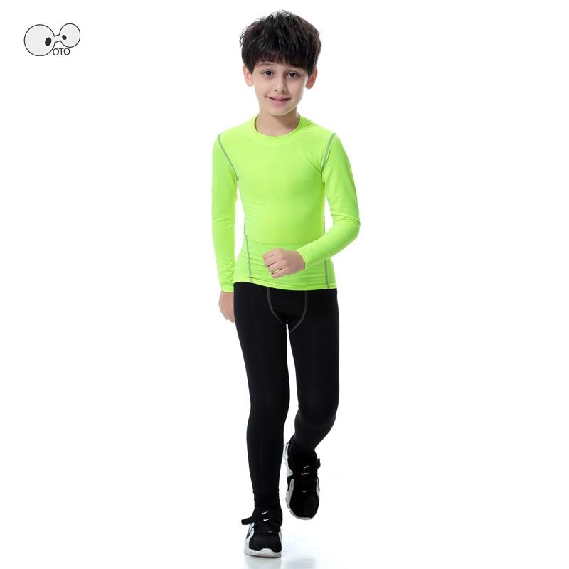 Long Sleeve Kids Boys Compression Running Sets Sports Shirts Pants Football Basketball Soccer Fitness T-shirt Tights leggings