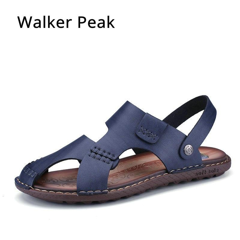 Walker Peak 2018 Luxury Genuine Leather Summer Shoes Men Sandals Fashion Male Sandalias Beach Shoes men Soft Bottom Breathable