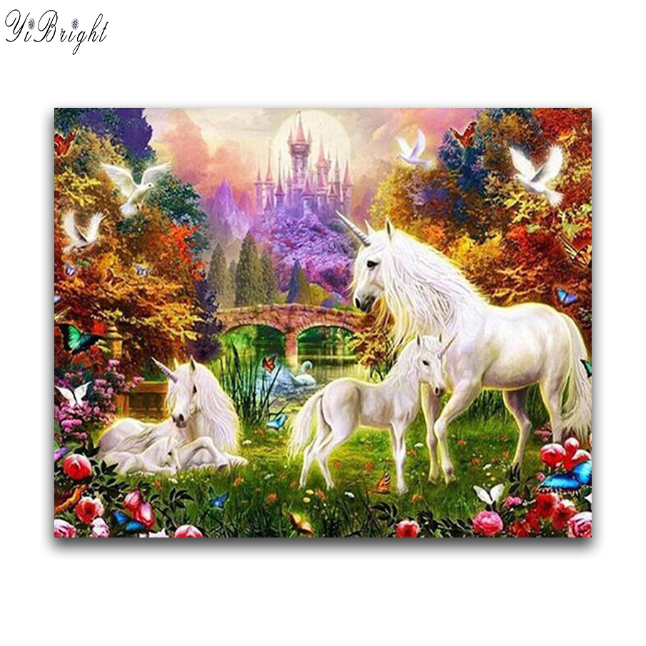 5D Diy Diamond painting unicorn Diamond Embroidery horse Full Square Diamond mosaic Rhinestones Crafts Embroidery Animals DCC