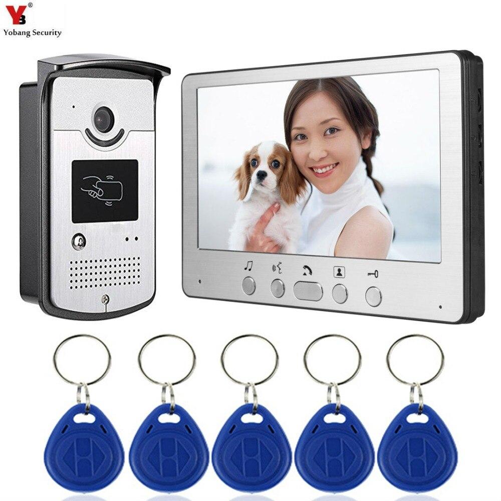 Yobang Security Video Intercom 7 inch Monitor Video Door Phone Doorbell Speakephone Intercom KIT RFID Access
