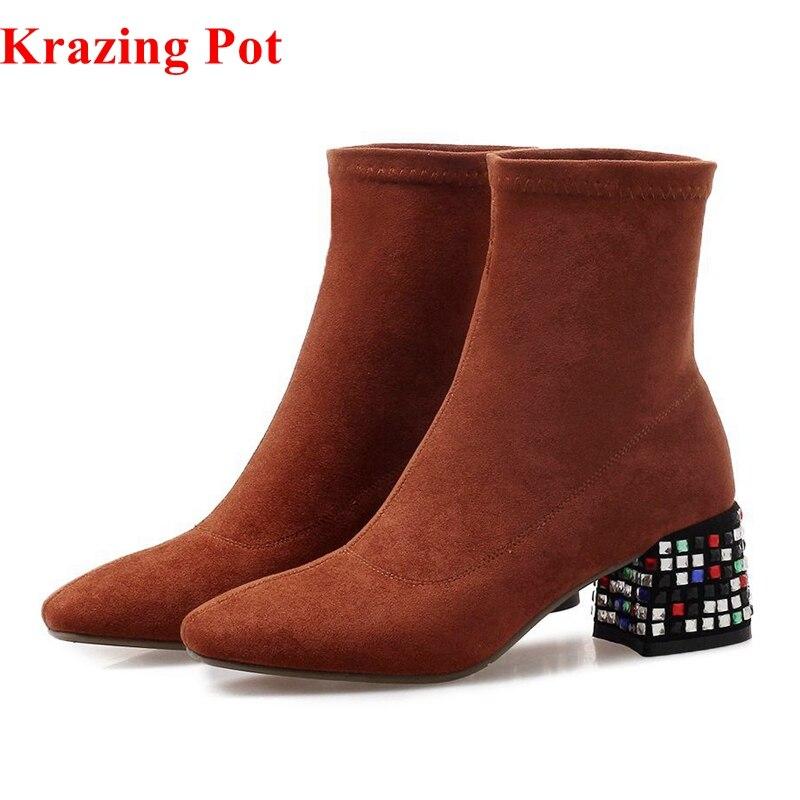 Krazing pot 2018 velours cristal clouté sans lacet diamant talons hauts bout carré garder au chaud luxe stretch tissu bottines L01