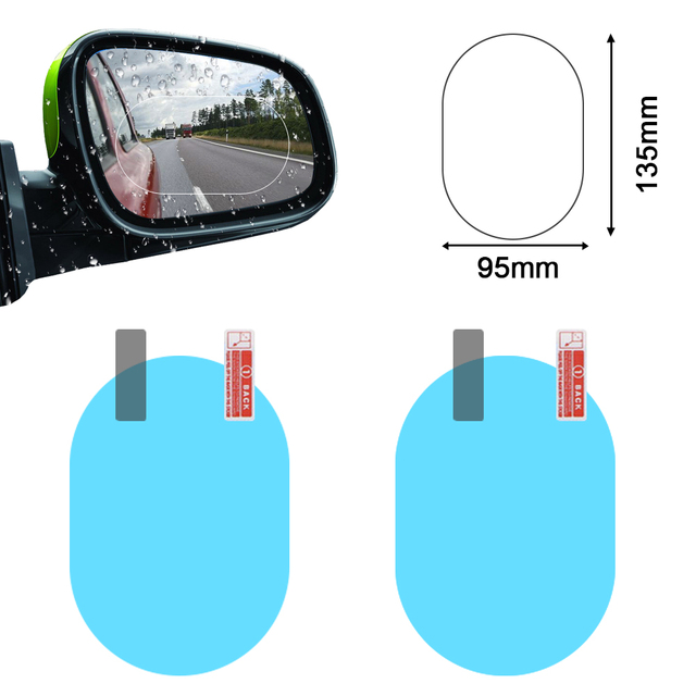 2PCS Car Mirror Window Clear Film Anti Dazzle Car Rearview Mirror Protective Film Waterproof Rainproof Anti Fog Car Sticker