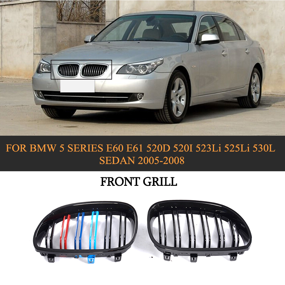 ABS Car Front Bumper Grill Grille Cover Trim For BMW 5 Series E60 E61 520d 520i 523li 525li 530l Sedan 4 Door 05-08 e60 abs front kidney grille grill for bmw 5 series e60 2004 2009 sedan e61 hatchback 1 slat 2 slat 535i 545i