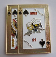 High quality rectangular playing card gold plated coins