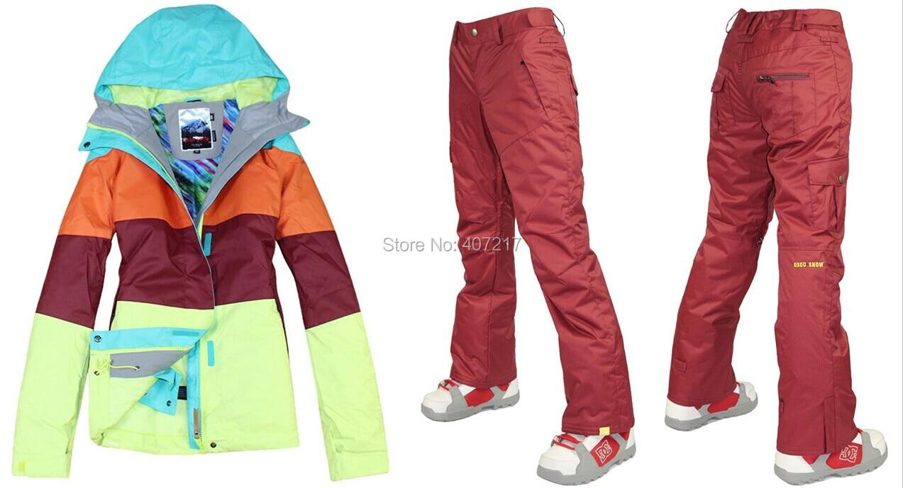Prix pour 2015 femmes chaude ski costume dames snowboard costume de neige vêtements de ski violacé rouge ski veste et pantalon de ski imperméable respirant