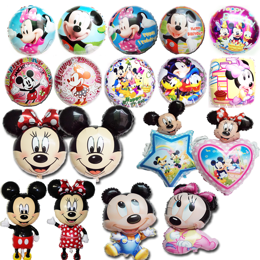 (2pcs/lot) mickey balloon children birthday party balloons cartoon minnie air balloon for child toy decoration birthday balloon