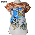 Summer T-shirt Women Casual Lady Top Tees Cotton Slim Tshirt Brand Clothing T Shirt Printed Bicycle Top Cute Tee