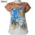 Verão t-shirt mulheres senhora casual top tees camiseta de algodão fino marca clothing camiseta bicicleta impresso top t bonito