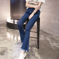 C9293 high waist bell bottom tassel wide leg pants slim elastic jeans female ankle - length pants