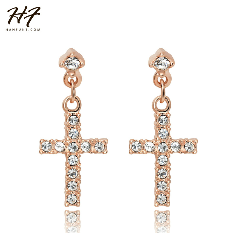 Elegant Cross CZ Crystal Party Earrings Wholesale Rose Gold Color Punk Wedding Party Jewelry For Women E373 E328
